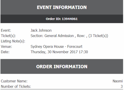 3 x Sydney Jack Johnson tickets - 30th of November GA