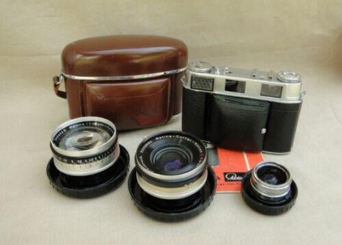nice Kodak Retina IIIC camera outfit, three lenses, case, manual - vintage 35mm