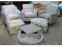 Joblot of Fabric Armchairs and Footstools - Brand New - Surplus Stock