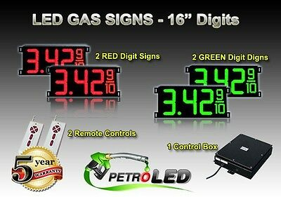 16 Led Gas Station Electronic Fuel Price Sign Digital Changer Complete Package