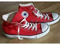 Converse all star hi tops red size 4