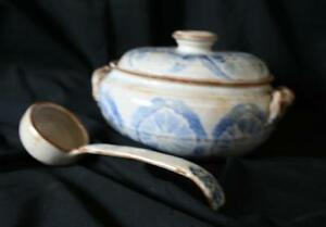 Casserole with Lid and matching Laddle, New Hand Made Pottery