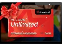 1 month free Cineworld Cinema Unlimited membership