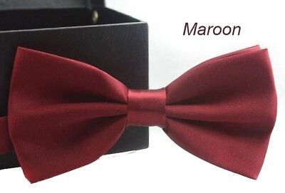 New Tuxedo PreTied Burgundy Maroon Bow Tie Satin Matching Adjustable Band   Maroon Pretied Bow Tie