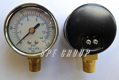 New Pressure Gauge Wog Air Compressor Hydraulic 2 Face 0-200 Lower Mnt 14npt