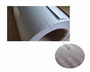 ````Carbon Fiber Fibre 3D Vinyl Silver Car Wrap 1.5m x 3m  Air Bubble Free ```