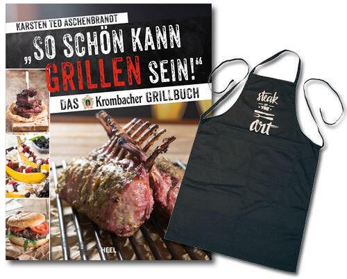 Krombacher Grillbuch + Schürze Set Geschenk Grillen Rezepte Ratgeber Buch Book