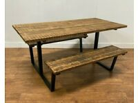 New Bespoke Hand Crafted 6 Seat Wooden Garden Patio Pub Table Picnic Bench