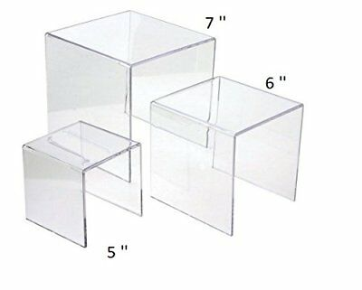 Clear Acrylic Riser Set 3 Display Stand Risers Retail Jewelry Stands 5 6 7