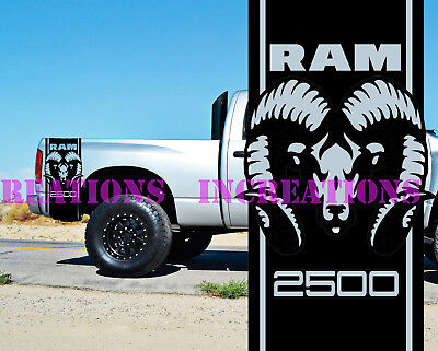 Stripes Truck Decals Stickers Fit Hemi Dodge Ram 2500 Bed  Set of 2 Unofficial