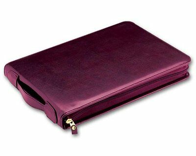 7-ring 3-on-a-page Real Leather Zipper Business Check Book Binder Burgundy New