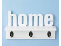 New Betterware White Home Text Wall Mounted Home Shelf and Coat Hanger Rack with 3 Hooks.