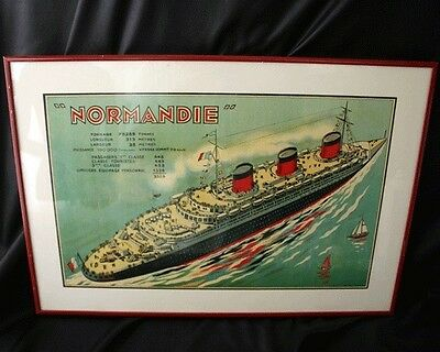 CGT French Line NORMANDIE Framed Mini Poster