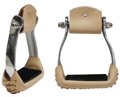 Showman angled aluminum Western stirrups w//no-slip treads # 175866