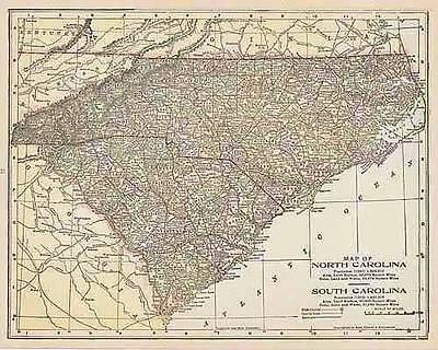 1900 ANTIQUE NORTH SOUTH CAROLINA color  map original authentic