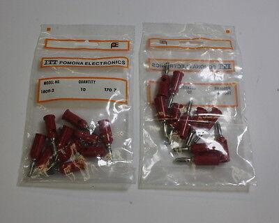 Lot Of 10 Red Pomona 1809-2 Pin Tip Jack To Banana Plug