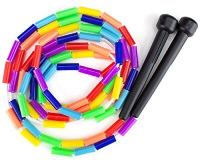 K-Roo Sports Rainbow 7-Feet Jump Rope with Plastic Beaded Se