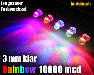 25 Stück LED 3mm Auto RGB LED langsamer Farbwechsel / Regenbogen Rainbow
