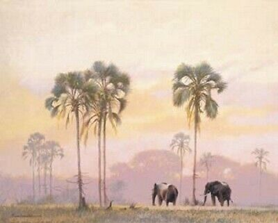 ELEPHANT AND PALM TREES  16 X 20 INCH POSTER