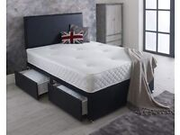 Divan bed double 4ft 6 with mattress and headboard