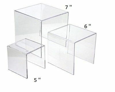 Clear Acrylic Display Risers Showcase For Jewelry 5 6 7 Showcase Shelf
