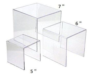 Clear Acrylic Display Risers Showcase For Jewelry 5 6 7 Showcase Shelf