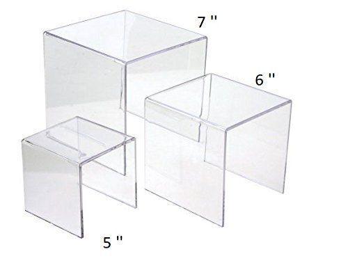 "Clear Acrylic Display Risers Showcase for Jewelry 5"", 6"", 7"" Showcase Shelf"
