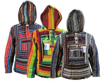 Hippie Boho Retro Gheri Emo Multi Color Baja Hoodies Jumpers Nepalese Pullover - Baja Pullover Hoodies