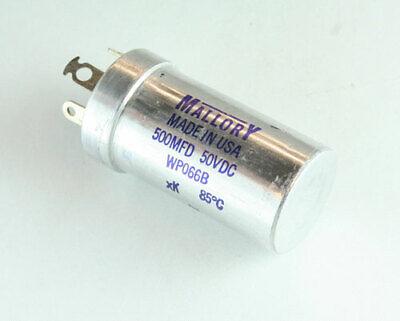 Wp066b Mallory Capacitor 500uf 50v Aluminum Electrolytic Large Can