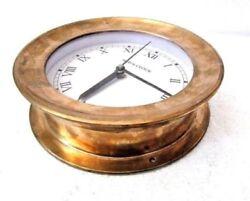 LARGE - SHIP'S BRASS  Clock – Marine WALL Clock - Roman - NAUTICAL BOAT (5007D)