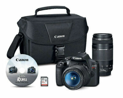 Canon EOS Rebel T7 24.1MP DSLR+18-55mmLens+ 70-300mmLens+32GB SD card+Camera Bag