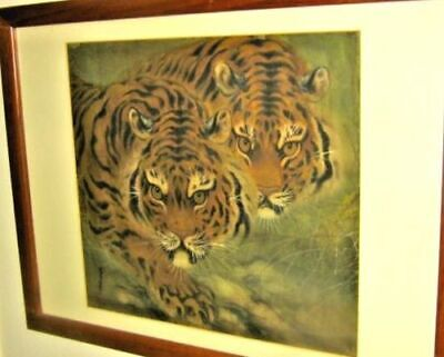 "Vintage Asian Painting On Silk Two Tigers Original 26x20"" L.A,Calif. pickup/del."