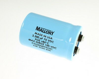 2x 3300uf 75v Large Can Electrolytic Aluminum Capacitor 75 Volts 3300mfd 75 Dc