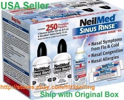 250 Pc Neilmed Sinus Rinse Exp 10  2020 Relief Nasal Flu Cold Allergy Free Spray