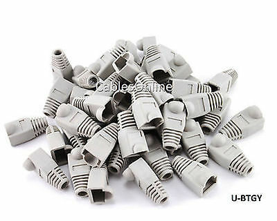 RJ45 Cat5e/ Cat6 Ethernet Cable Plug Strain Relief Boots 50-Pack, Grey
