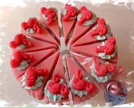 Pretty flamingo soap cake slice