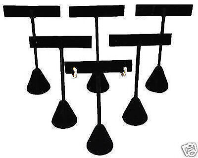 6 Piece Earring T-bar Jewelry Displays Stand Black Velvet Covered 4 34 Tall
