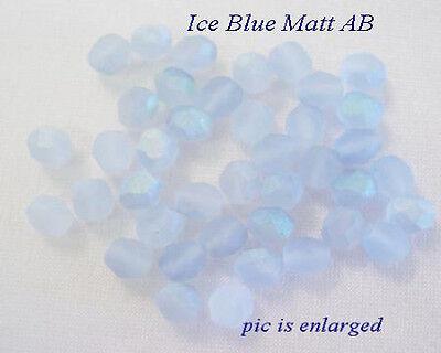 Stunning Ice Blue Matt AB  Faceted Glass Beads