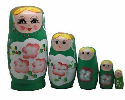 Green Set Of 5 Cutie Nesting Dolls Matryoshka Madness Russian Doll - NEW - $17.99