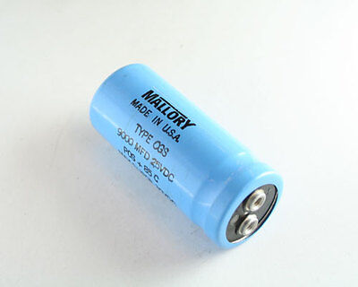 New 2 Pcs Of Mallory Cgs Series 9000uf 25v Large Can Screw Terminal Capacitors