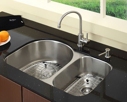 This Is Another Double Bowl Kitchen Sink From Kraus. The Larger Main Bowl  Is 16.5 Inches Long By 17.5 Inches Wide By 9 Inches Deep.