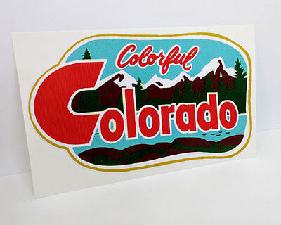 Colorful Colorado Vintage Style Travel Decal, Vinyl Sticker, Luggage Label