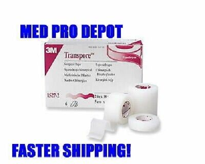 """NEW 3M TRANSPORE Surgical Tape 2"""" 6rl/box 1527-2 SEALED"""