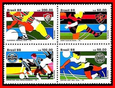 BRAZIL 1988 FOOTBALL SOCCER TEAMS MNH SPORTS UNIFORMS