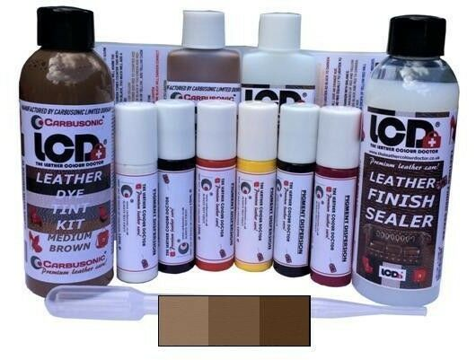 leather dye kit colour match scratch repair, re-colour colour change sealer.