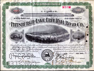 Pittsburgh Lake Erie Railroad Co. Stock Certificate 1940
