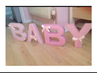 Freestanding BABY letters pink