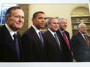OFFICIAL WHITE HOUSE PRIVATE PHOTOGRAPH OF THE  FIVE PRESIDENTS