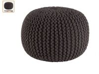 Grey Cable Knit Ottoman