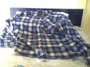 'Mantaray' blue checked flannelette button down shirt. Bondi Beach Eastern Suburbs Preview